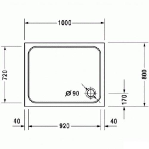 Душевой поддон Duravit D-Code 1000х800 мм
