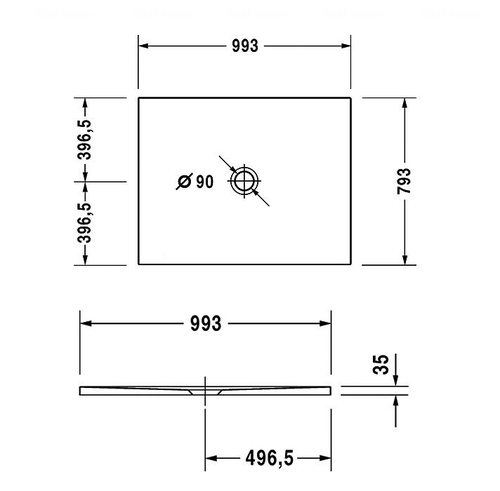 Сверхплоский душевой поддон Duravit DuraPlan 1000х800 мм