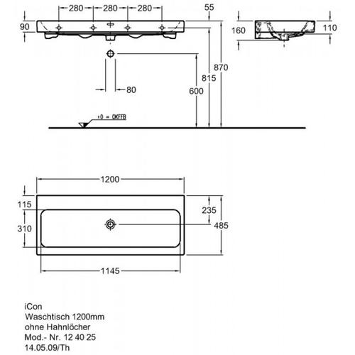 Умывальник Keramag iCon 1200 мм, без отверстий