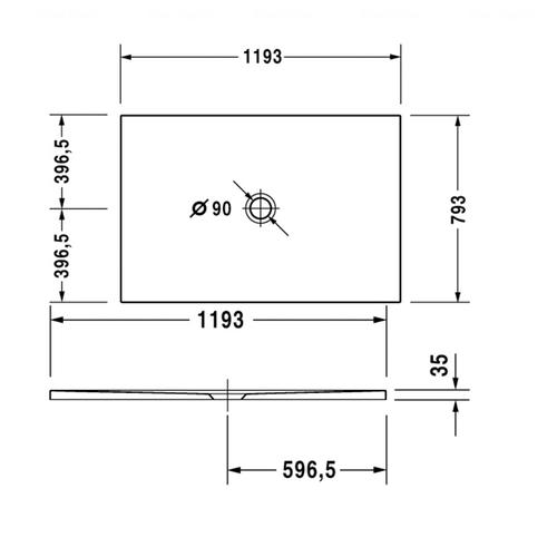 Сверхплоский душевой поддон Duravit DuraPlan 1200х800 мм