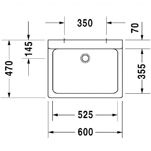 Умывальник шлифованный для настенной арматуры Duravit Vero, 600x470 мм