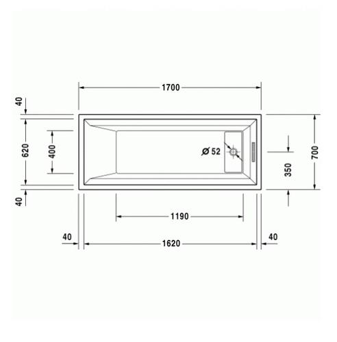 Ванна Duravit 2nd floor 170х70, с ножками (700079)