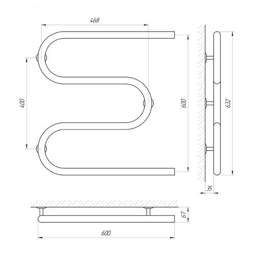 Полотенцесушитель Laris Змеевик 32 РС3 600х600 (71207220) хром хром