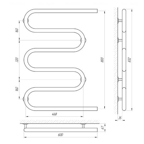 Полотенцесушитель Laris Змеевик 32 РС5 600х800 (71207233) хром хром
