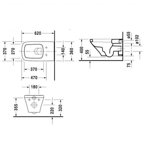 Унитаз подвесной Duravit Duraplus 370х620 мм