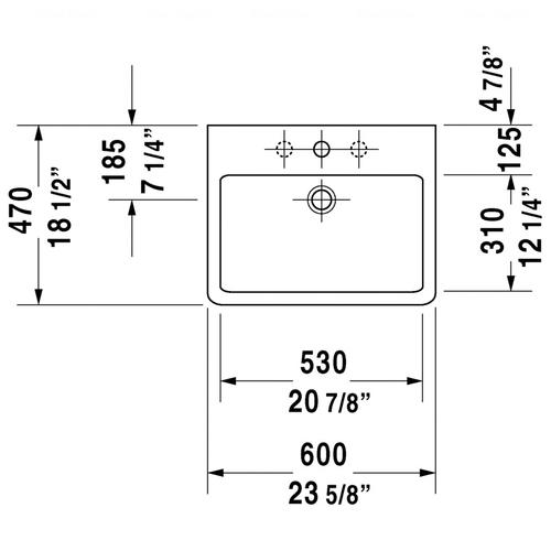 Умывальник шлифованный Duravit Vero, 600x470 мм, черный