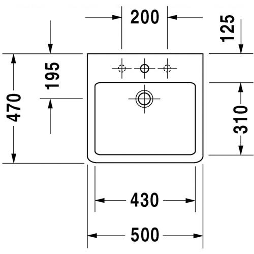 Умывальник Duravit Vero, 500x470 мм, черный