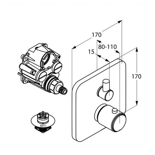 Смеситель-термостат для ванны и душа Kludi E2 (498300575)