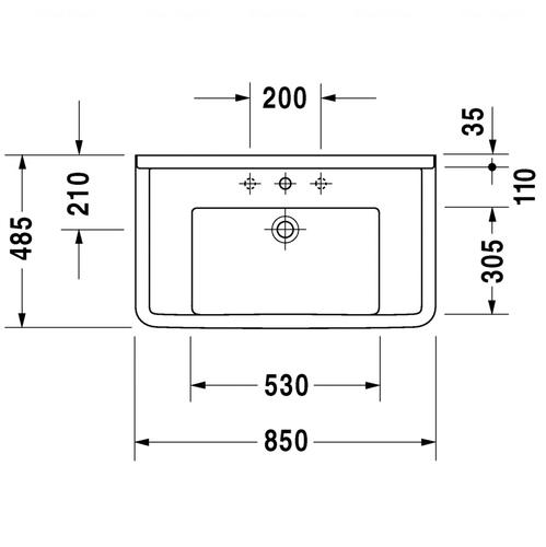 Умывальник Duravit Starck 3, 850x485 мм