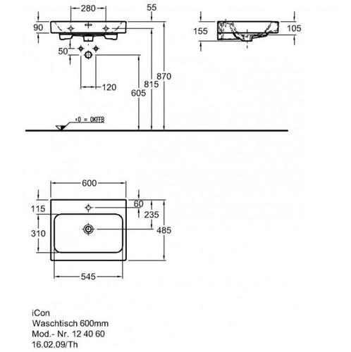 Умывальник Keramag iCon 60 см (124060000)