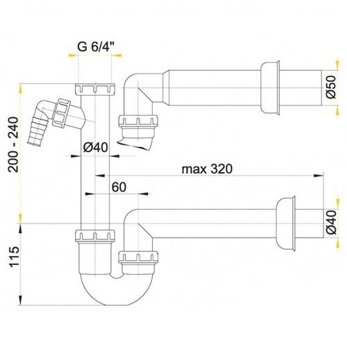 Сифон для умывальника Alca plast A81, d50