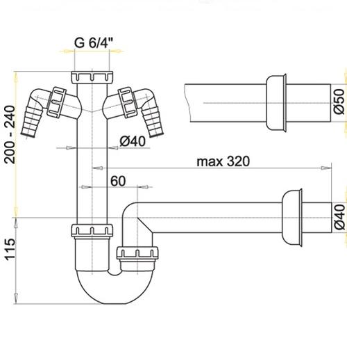 Сифон для умывальника Alca plast A82, d40