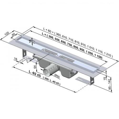 Водоотводящий желоб Alca plast APZ1-1050