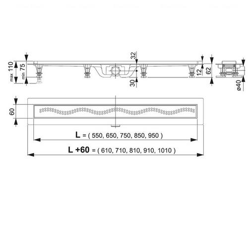 Водоотводящий желоб Alca plast APZ10-650