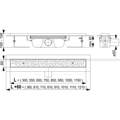 Водоотводящий желоб с решеткой Антивандал Alca plast APZ11-750