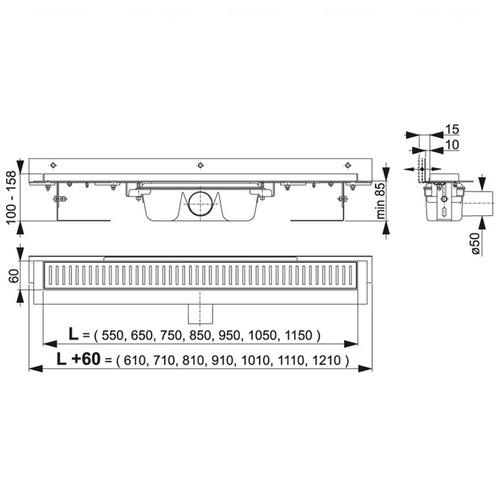 Водоотводящий желоб Alca plast APZ4-1050