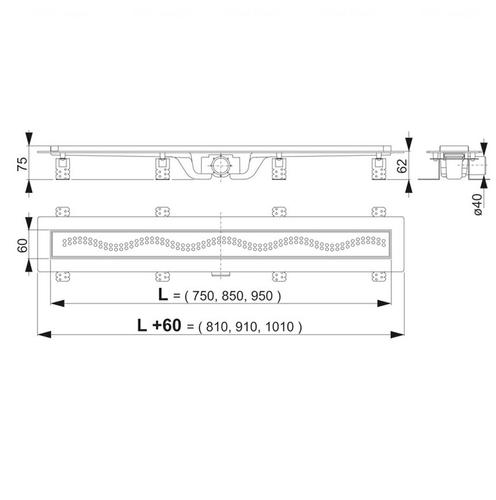 Водоотводящий желоб с решеткой Alca plast APZ8-750