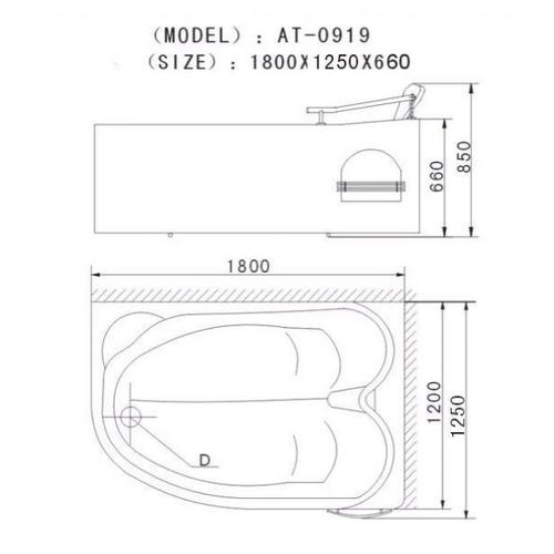 Ванна Appollo АТ-0919 с гидромассажем и пневмокнопкой