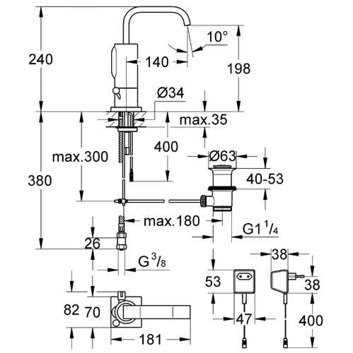 Бесконтактный смеситель для раковины Grohe Allure E 36098000