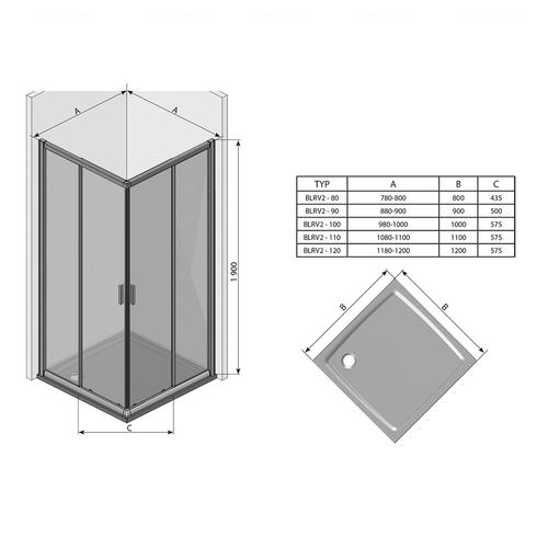 Душевая дверь Ravak Blix BLRV2K-90 профиль белый + витраж Transparent профиль белый + витраж Transparent