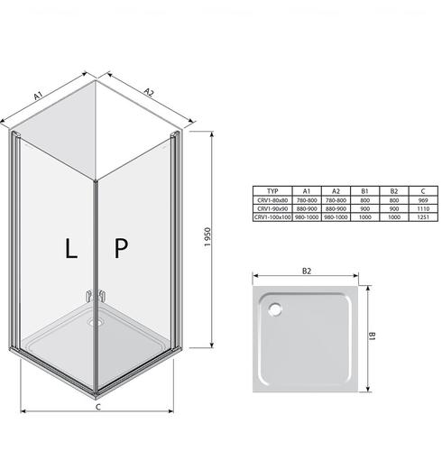 Душевая дверь Ravak Chrome CRV1-100 профиль алюминий профиль алюминий