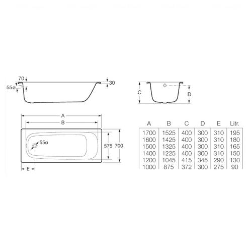 Ванна стальная Roca Contesa 150 без ножкек без ножкек