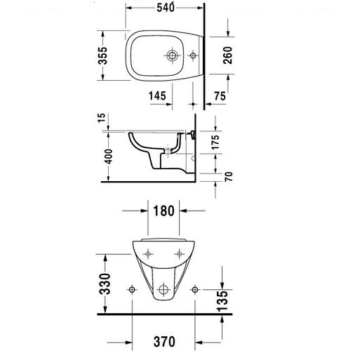 Биде подвесное Duravit D-Code, 355х540 мм