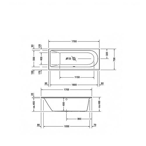 Ванна Duravit серии Darling New 170х70 наклон для спины слев наклон для спины слев