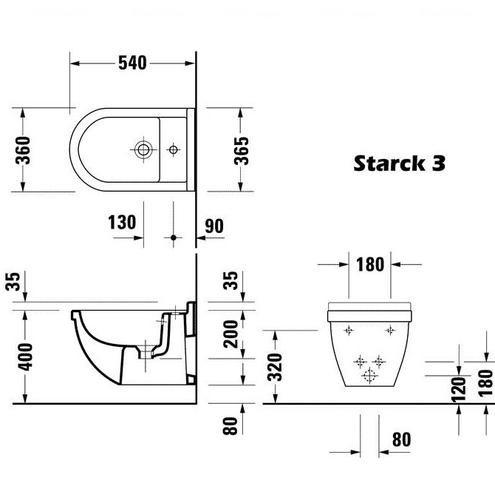 Биде подвесное Duravit Starck 3