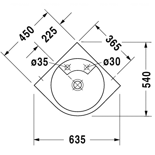 Умывальник Duravit Architec, 635 мм