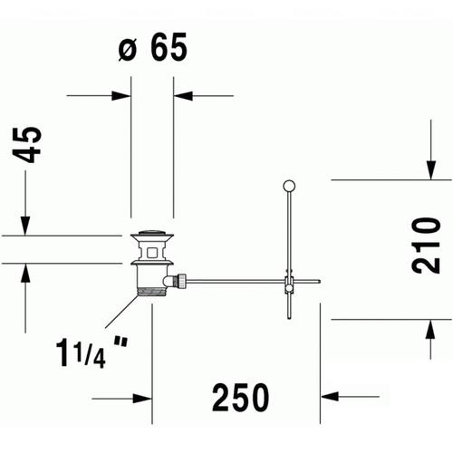 Рычажно-коленный клапан для умывальника Duravit