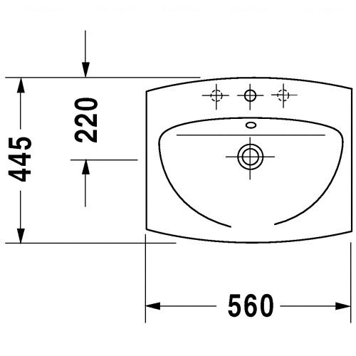 Умывальник встраиваемый Duravit Caro, 560 мм
