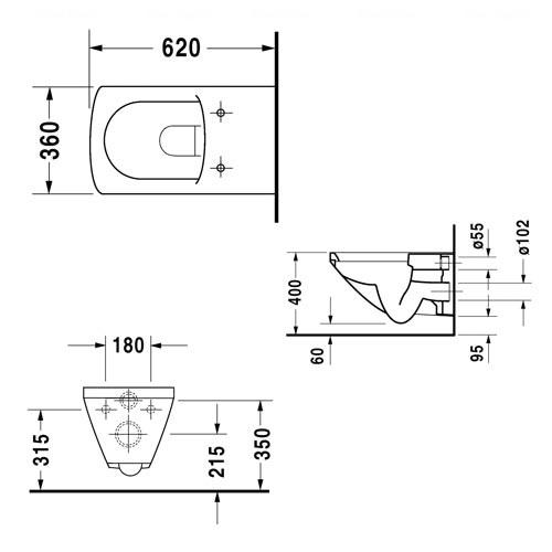 Унитаз подвесной Duravit Caro, 360 мм