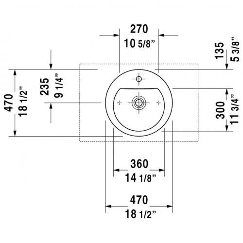 Раковина шлифованная Duravit Darling New, 470 мм