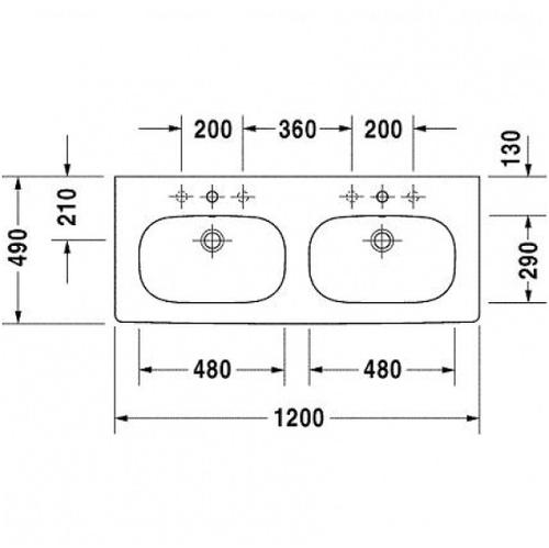Умывальник двойной Duravit D-Code, 1200 мм