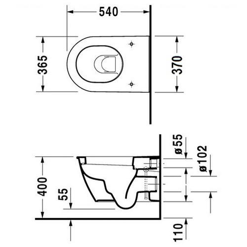 Унитаз подвесной Duravit Darling New 370 мм 2545090000