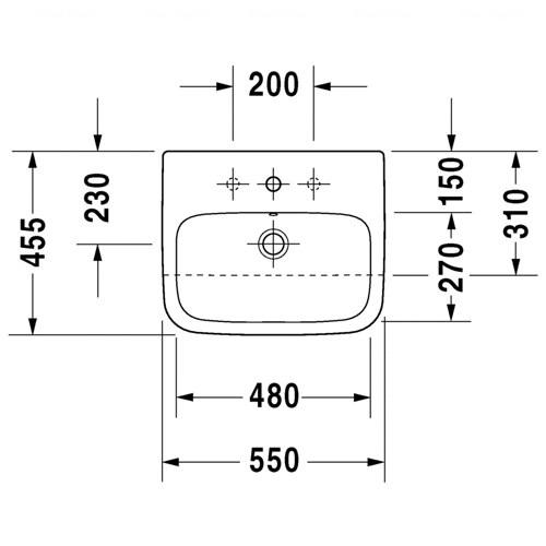 Умывальник встраиваемый до половины Duravit DuraStyle, 550 мм