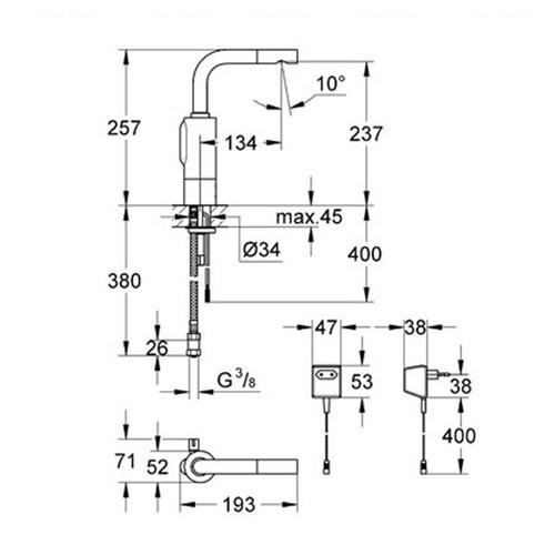 Смеситель для раковины Grohe Essence E 230V