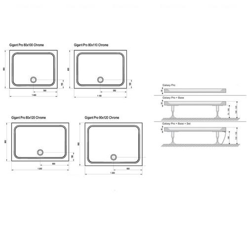 Душевой поддон Ravak Gigant Pro Chrome 120 х 90 (XA04G701010)