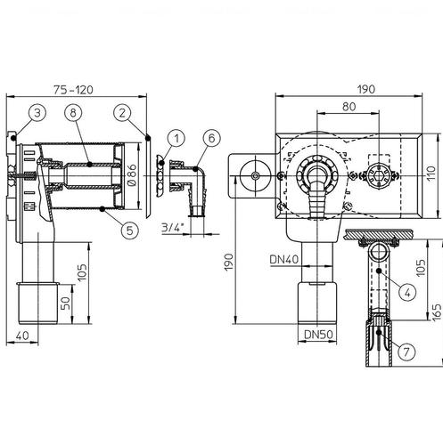 Сифон для стиральной и посудомоечной машины Hutterer & Lechner HL405