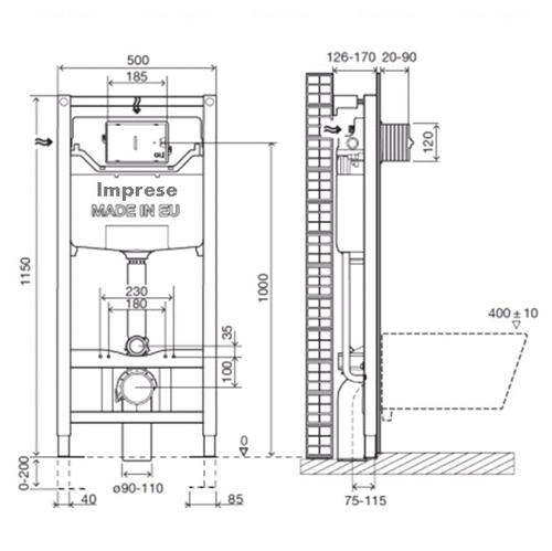 Комплект: унитаз Kolo Style Rimfree + инсталляция Imprese 3в1 (L20112000+L23120000+i8120)