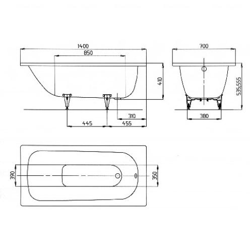 Ванна Kaldewei Saniform Plus 1400 мм, mod 360-1