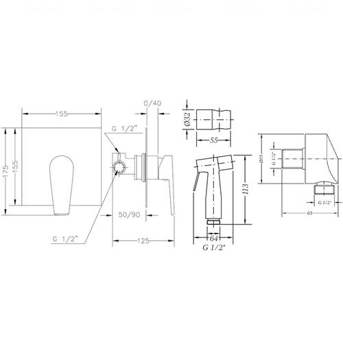 Комплект гигиенического душа Genebre Klip (Klip45ov)