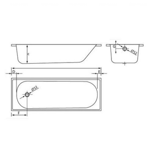 Ванна стальная Koller Pool Liberty 150x70 без ножек без ножек