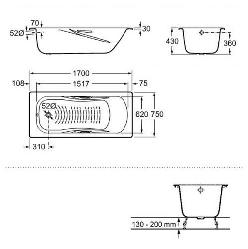Ванна стальная Roca Princess 170 (A220270001) С ручками С ручками