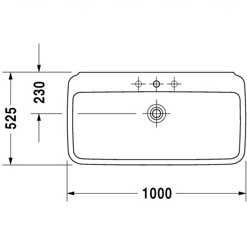 Умывальник для мебели Duravit PuraVida, 1000 мм