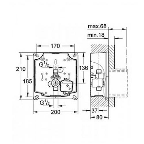 Скрытый сливной клапан для писсуара Grohe Rapido U 3733800