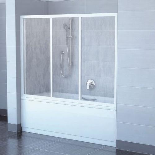 Двери для ванны Ravak AVDP3 180 профиль белый + витраж Rain профиль белый + витраж Rain