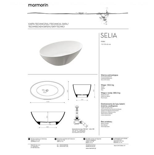 Ванна Marmorin Selia 156 белый белый