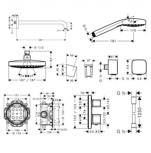 Душевой набор Hansgrohe ShowerSet Croma Select E/Ecostat E (27294000)